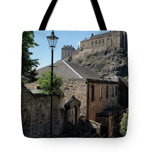 Tote Bag featuring the photograph Edinburgh Castle In Scotland by Jeremy Lavender Photography