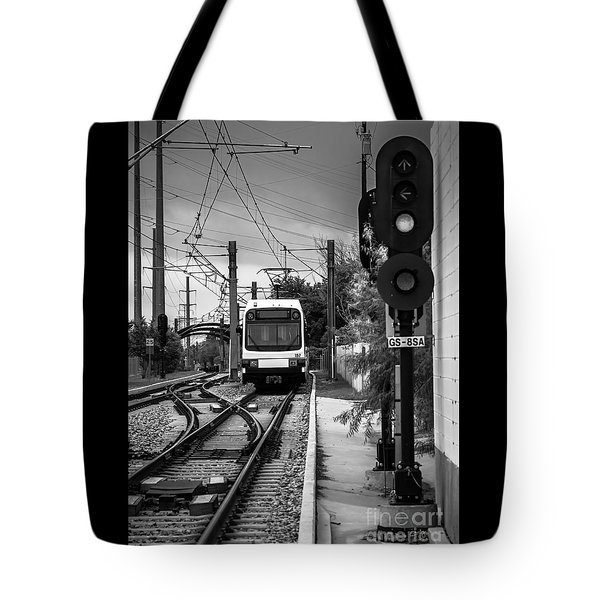 Electric Commuter Train In Bw Tote Bag
