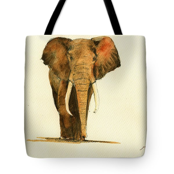 Elephant Watercolor Tote Bag by Juan  Bosco