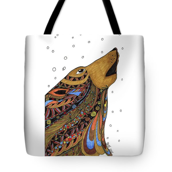 Tote Bag featuring the drawing Eli Wolf by Barbara McConoughey