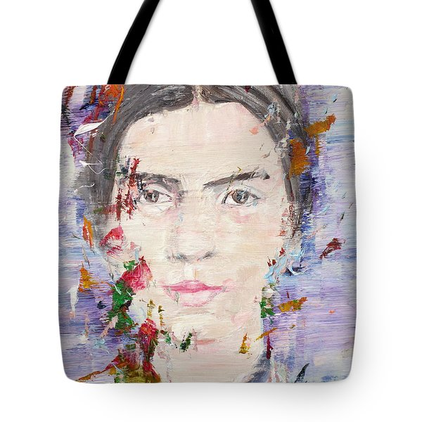 Tote Bag featuring the painting Emily Dickinson - Oil Portrait by Fabrizio Cassetta