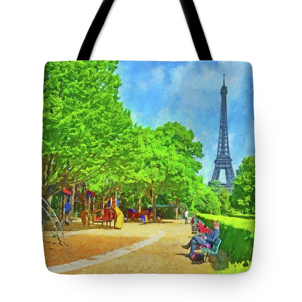 Enjoying The Champ De Mars Near The Eiffel Tower Tote Bag