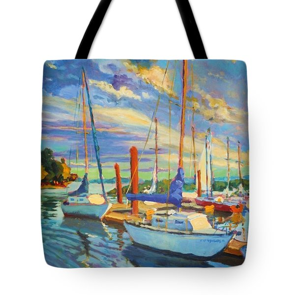 Evening At The Marina Tote Bag by Margaret  Plumb