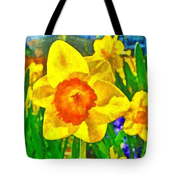 Tote Bag featuring the digital art Extreme Daffodil by Digital Photographic Arts