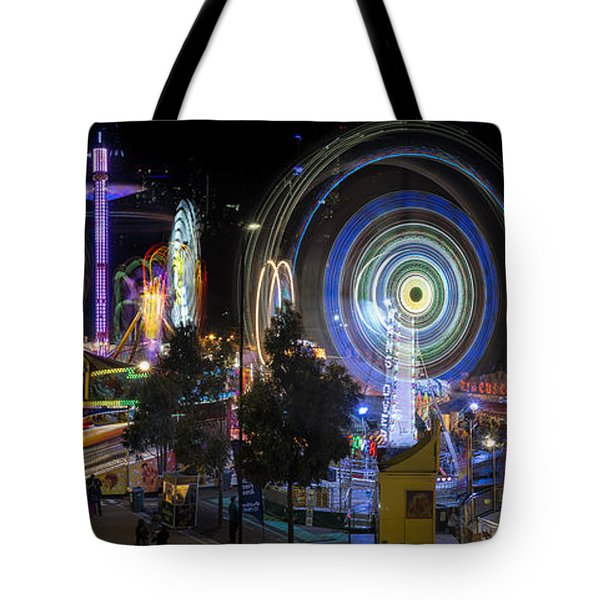 Tote Bag featuring the photograph Fairground Attraction Panorama by Ray Warren