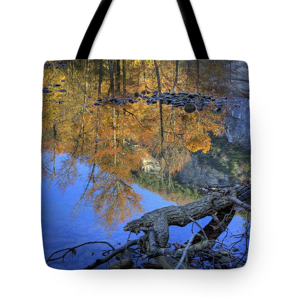 Fall Color At Big Bluff Tote Bag by Michael Dougherty