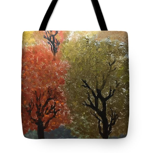 Tote Bag featuring the painting Fall Trees by Paula Brown