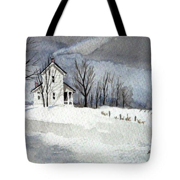 Farmhouse In Winter Tote Bag