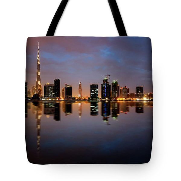 Fascinating Reflection Of Tallest Skyscrapers In Bussiness Bay D Tote Bag