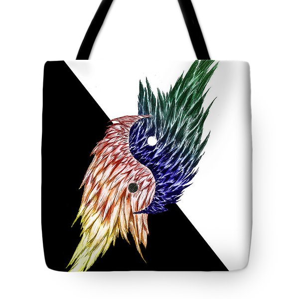 Feathered Ying Yang  Tote Bag by Peter Piatt