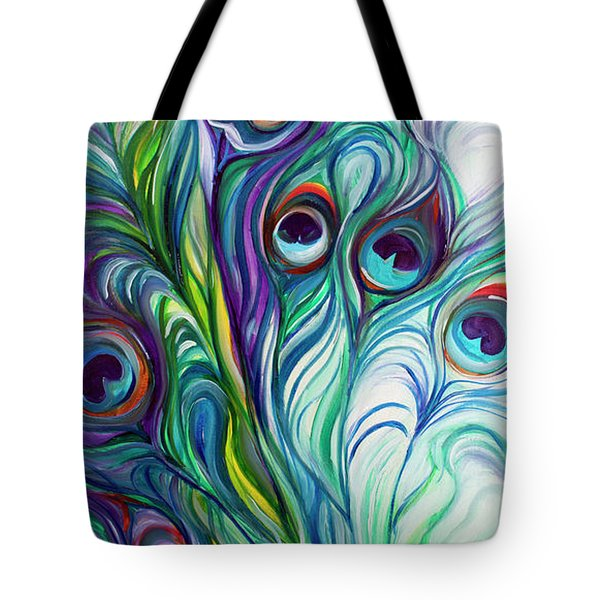 Feathers Peacock Abstract Tote Bag