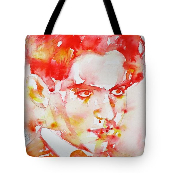 Tote Bag featuring the painting Federico Garcia Lorca - Watercolor Portrait by Fabrizio Cassetta