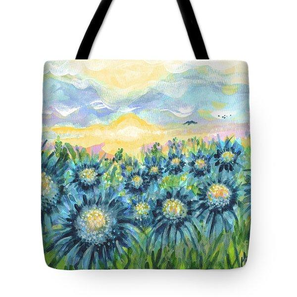 Field Of Blue Flowers Tote Bag