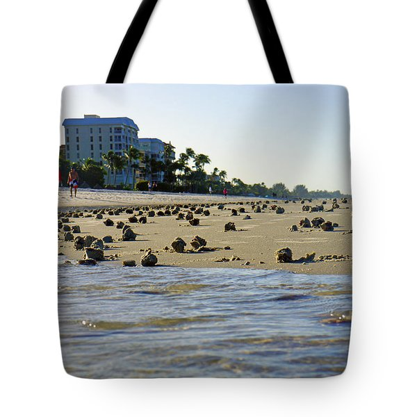 Fighting Conchs At Lowdermilk Park Beach In Naples, Fl Tote Bag
