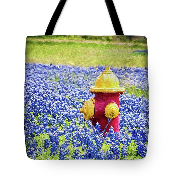 Fire Hydrant In The Bluebonnets Tote Bag