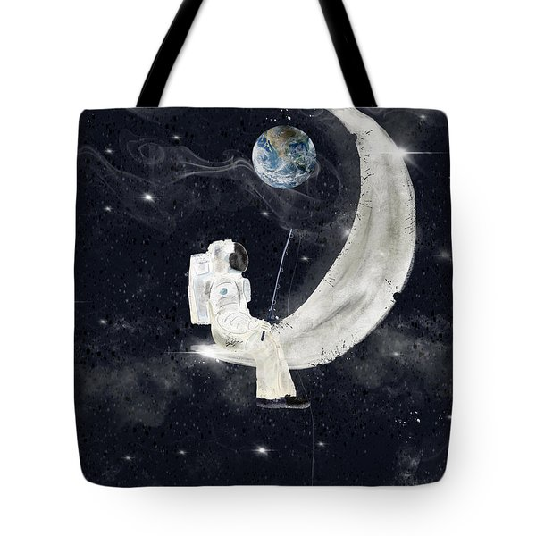 Tote Bag featuring the painting Fishing For Stars by Bri B