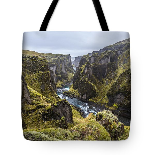 Tote Bag featuring the photograph Fjadrargljufur by James Billings