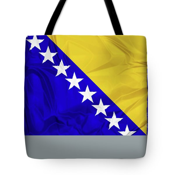 Tote Bag featuring the digital art Flag Of Bosnia by Benny Marty