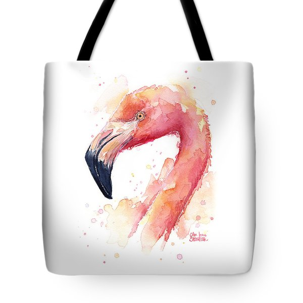 Flamingo Watercolor  Tote Bag by Olga Shvartsur