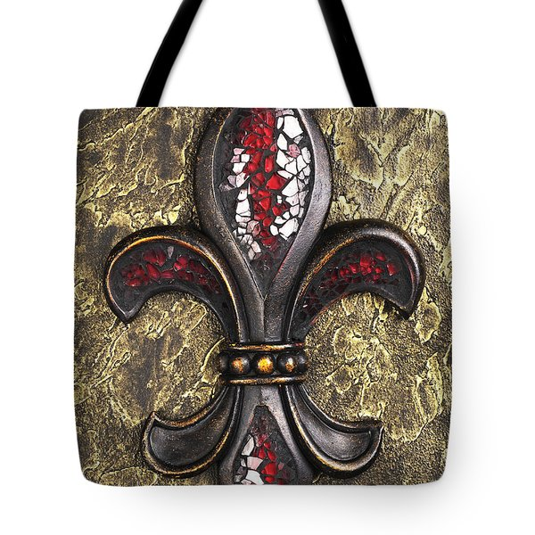 red mosaic Fleur-di-lis Tote Bag by Tony Cordoza