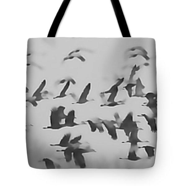 Flight Of The Sandhill Cranes Tote Bag