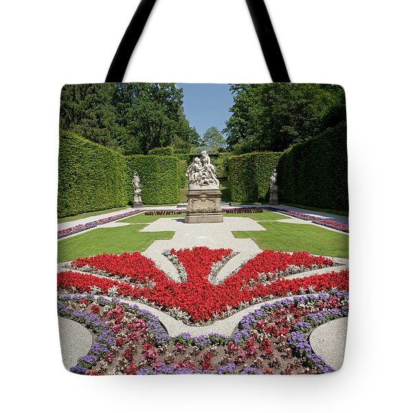 Flowerbeds And Sculptures In Eastern Parterre Tote Bag