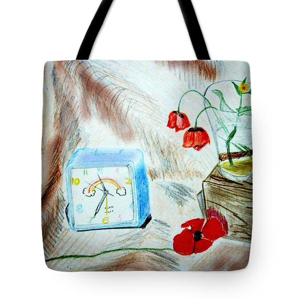Tote Bag featuring the drawing Flowers by Dr Loifer Vladimir