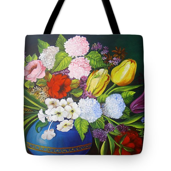 Flowers In A Vase Tote Bag by Dominica Alcantara