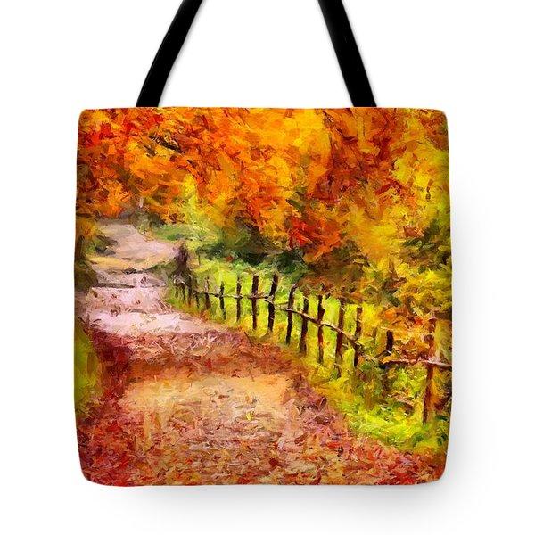 Fall Foliage Path 2 Tote Bag