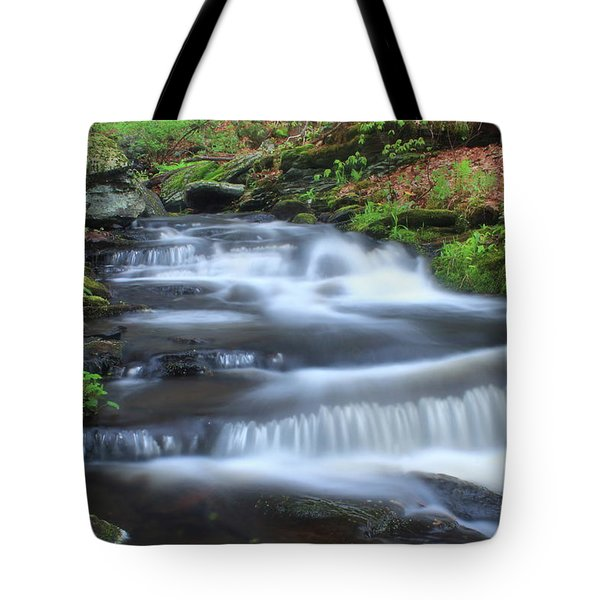 Forest Stream And Marsh Marigolds Tote Bag by John Burk
