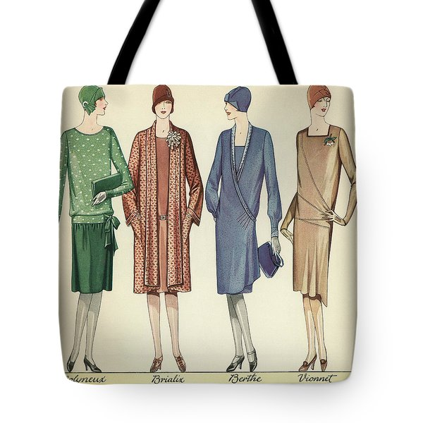 Four Flappers Modelling French Designer Outfits, 1928  Tote Bag