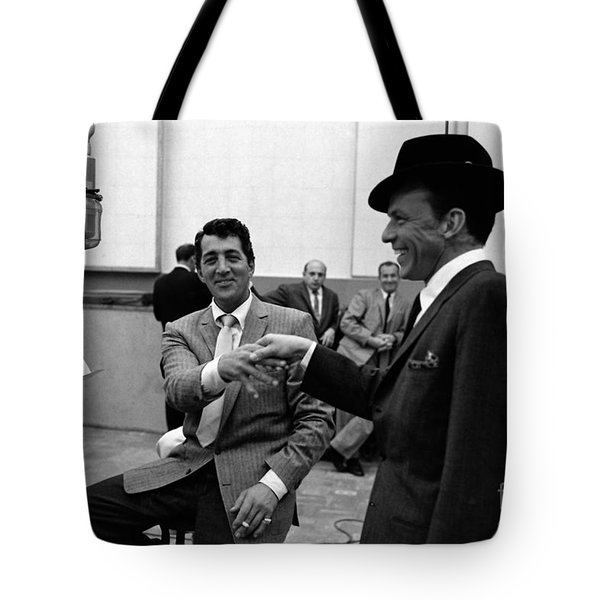 Frank Sinatra And Dean Martin At Capitol Records Studios 1958. Tote Bag by The Titanic Project