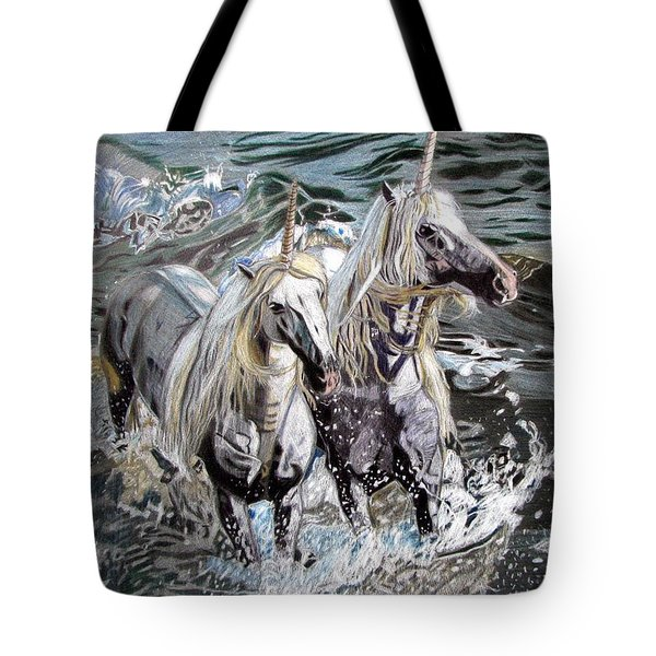 Tote Bag featuring the drawing Freedom And Friendship by Melita Safran