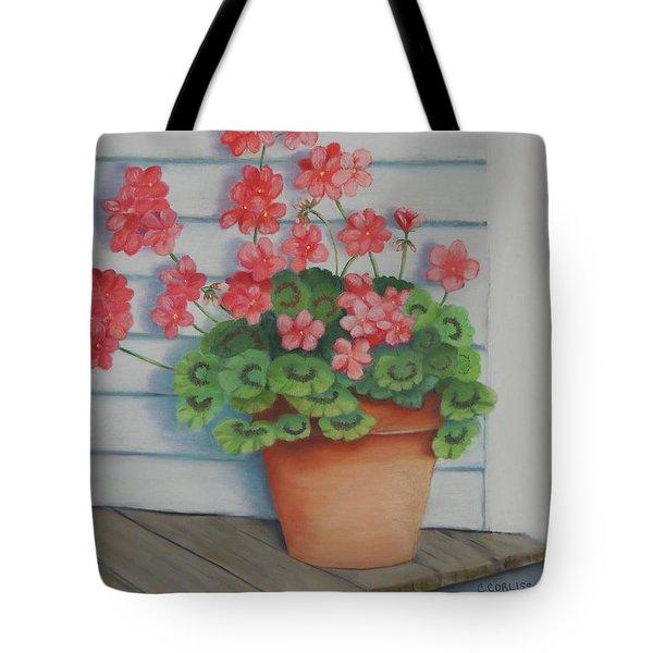 Front Porch Geraniums Tote Bag