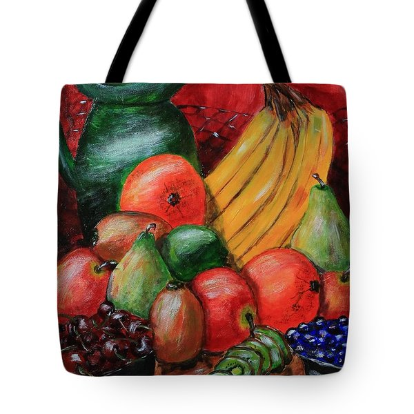 Tote Bag featuring the painting Fruit And Pitcher by Melvin Turner