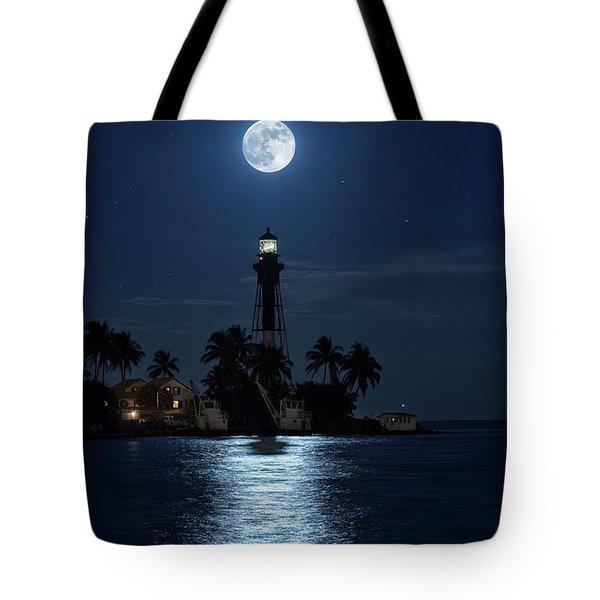 Full Moon Over Hillsboro Lighthouse In Pompano Beach Florida Tote Bag
