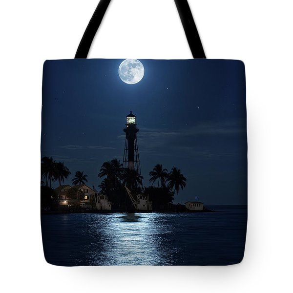 Tote Bag featuring the photograph Full Moon Over Hillsboro Lighthouse In Pompano Beach Florida by Justin Kelefas
