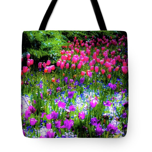 Garden Flowers With Tulips Tote Bag