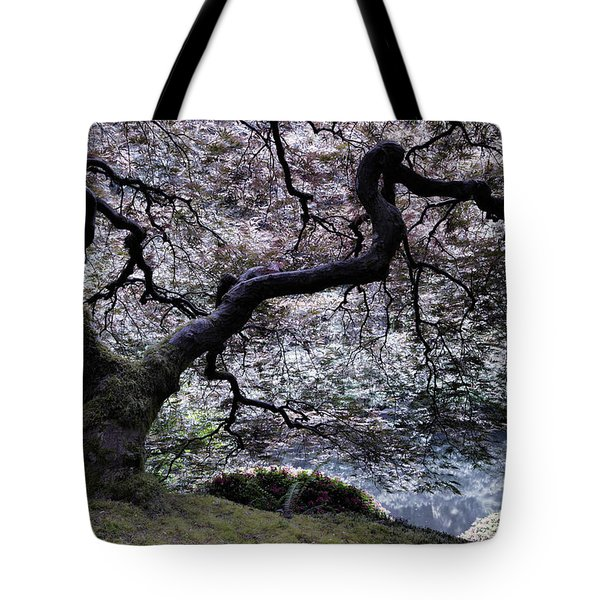 Garden View In Blue Tote Bag