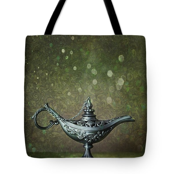 Genie Lamp On Old Book Tote Bag by Sandra Cunningham