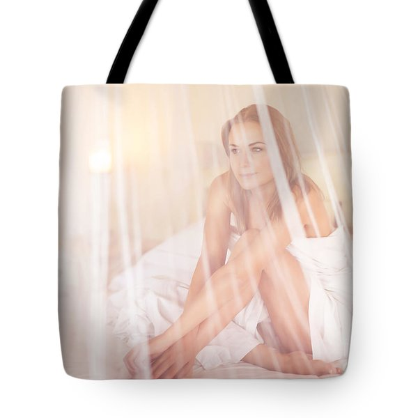 Gentle Woman In The Bed Tote Bag