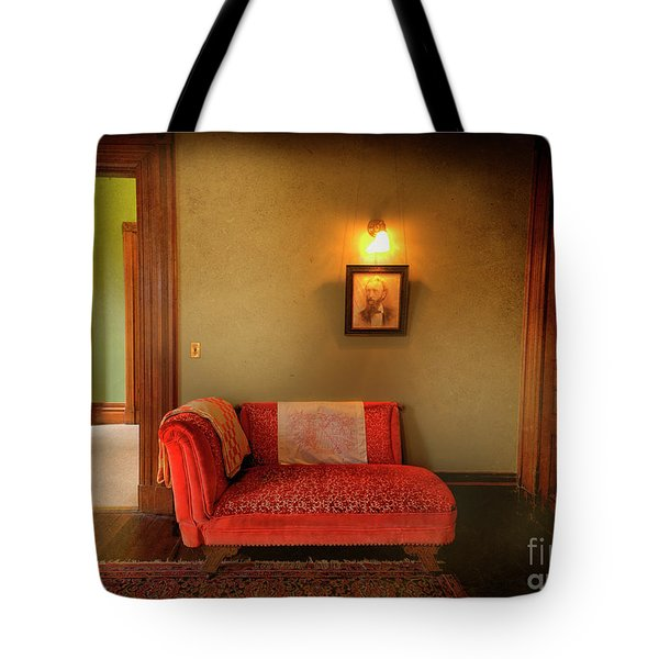 Tote Bag featuring the photograph George's Red Sofa by Craig J Satterlee