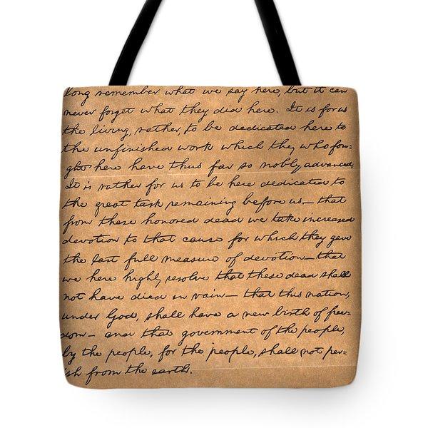 Gettysburg Address Tote Bag by Granger