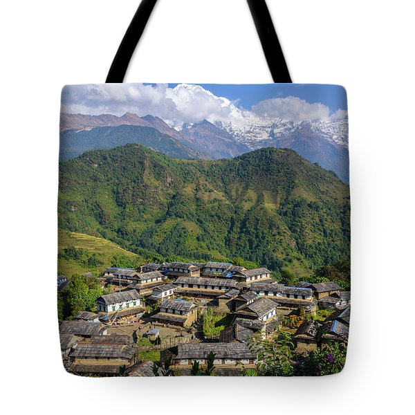 Ghandruk Village In The Annapurna Region Tote Bag