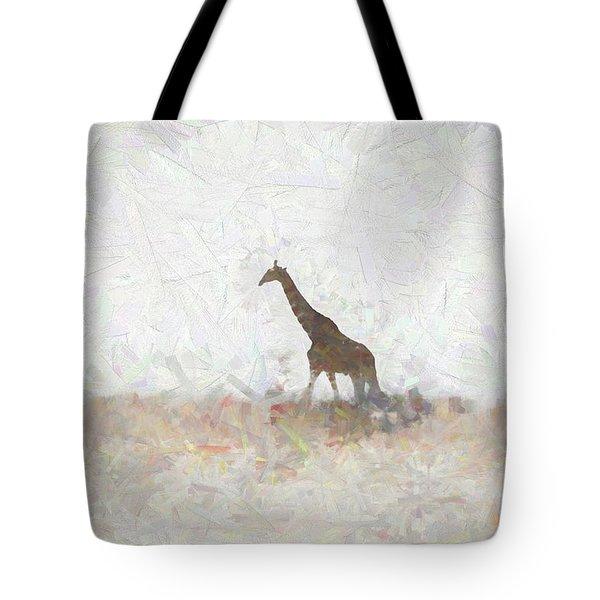 Tote Bag featuring the digital art Giraffe Abstract by Ernie Echols