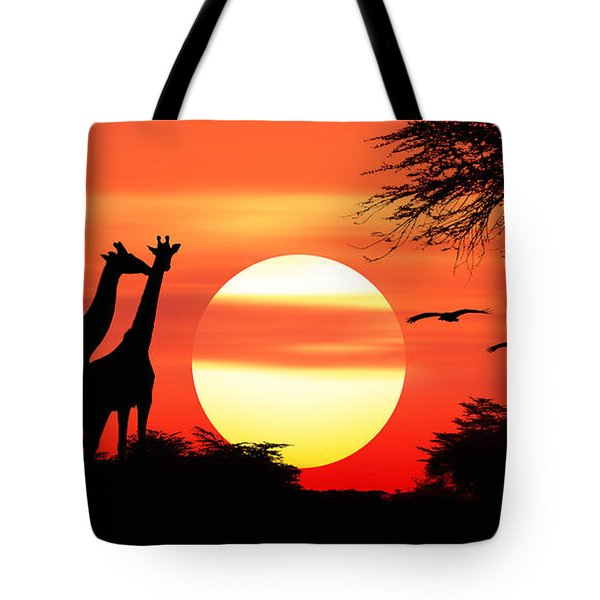 Giraffes At Sunset Tote Bag