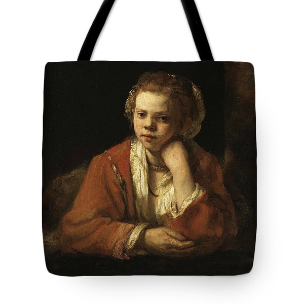Girl At A Window Tote Bag