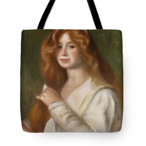 Girl Combing Her Hair Tote Bag by Pierre Auguste Renoir