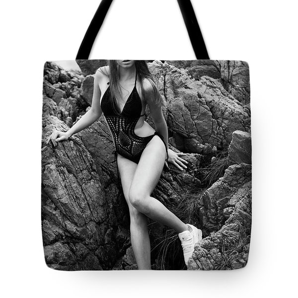 Girl In Black Swimsuit Tote Bag