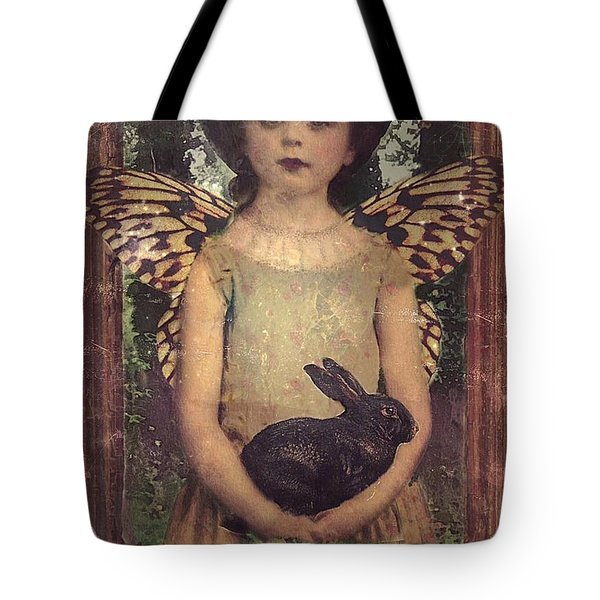 Tote Bag featuring the digital art Girl In The Garden by Alexis Rotella